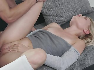 Sweet blonde Scarlett Knight and say no to handsome male have fun