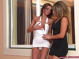Lesbian babes pleasure familiar with each other in couple of different positions