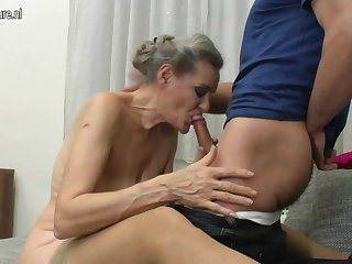 Granny suck together with granny fuck young boy