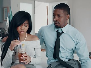 Beefy cumshot from a black guy on the pussy of Asian newborn Ember Snow