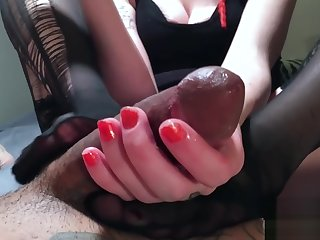 Unintended Creampie From Footjob Edging Pleasantry Kissing Cock Turned Back Sex!