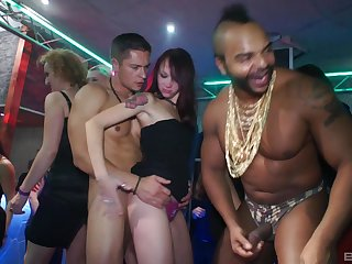 horny dude enjoys acquiescent blowing and group sex upon tartlet club