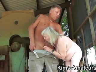 72 pedigree old granny gives a blowjob and gets fucked