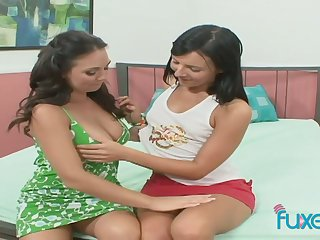 Powered beautiful girlfriends enjoy eating each others palatable wet pussies