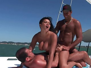 Slutty brunette takes money to be fucked by twosome guys not susceptible a boat