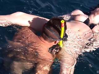 Amazing submerged scuba sex for dirty MILF Sabine Mallory