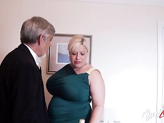 English huge breasted plus chubby cougar Gina George is banged mish