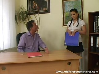 Superannuated boss makes an offer with his horny brunette secretary Alena