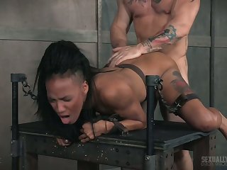 Sporadic out of order tattooed ebony slut gets brutally mouthfucked and nailed doggy