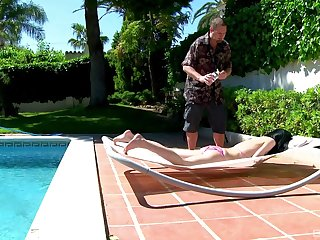 Sunbathing Amadea Emily masturbates and gets fucked by the pool