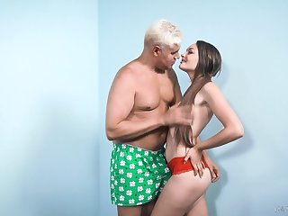 Bootyful babe Sabrina Rey is fucked at the end of one's tether one senior guy