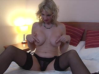 Blonde woman with big uncomplicated tits, fantasy solo on cam