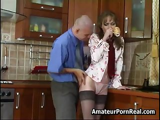 Sexy Russian Mature Fucks Young Guy In Scullery