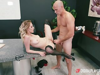 Secretary spreads legs for the brass hats and gets laid chiefly the desk