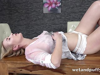 Slutty pale chick Amaris gets rid be expeditious for lacy lingerie and insouciantly masturbates