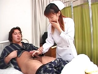 Off colour Asian nurse Rina Usui gives their way patient a handjob. HD