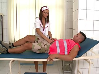 Aphoristic tits nurse Lindsey Olsen gives head increased by gets fucked in doggy