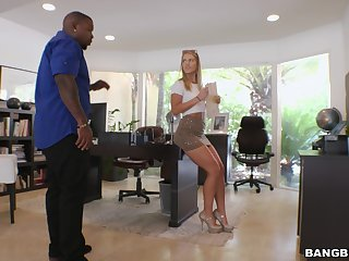 Interracial screwing adjacent to hot ass blondie Candice Dare on the sofa