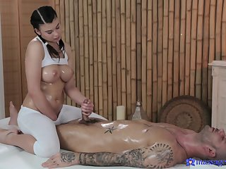 Hot and oiled Lucy Li enjoys riding dick of say no to lucky client
